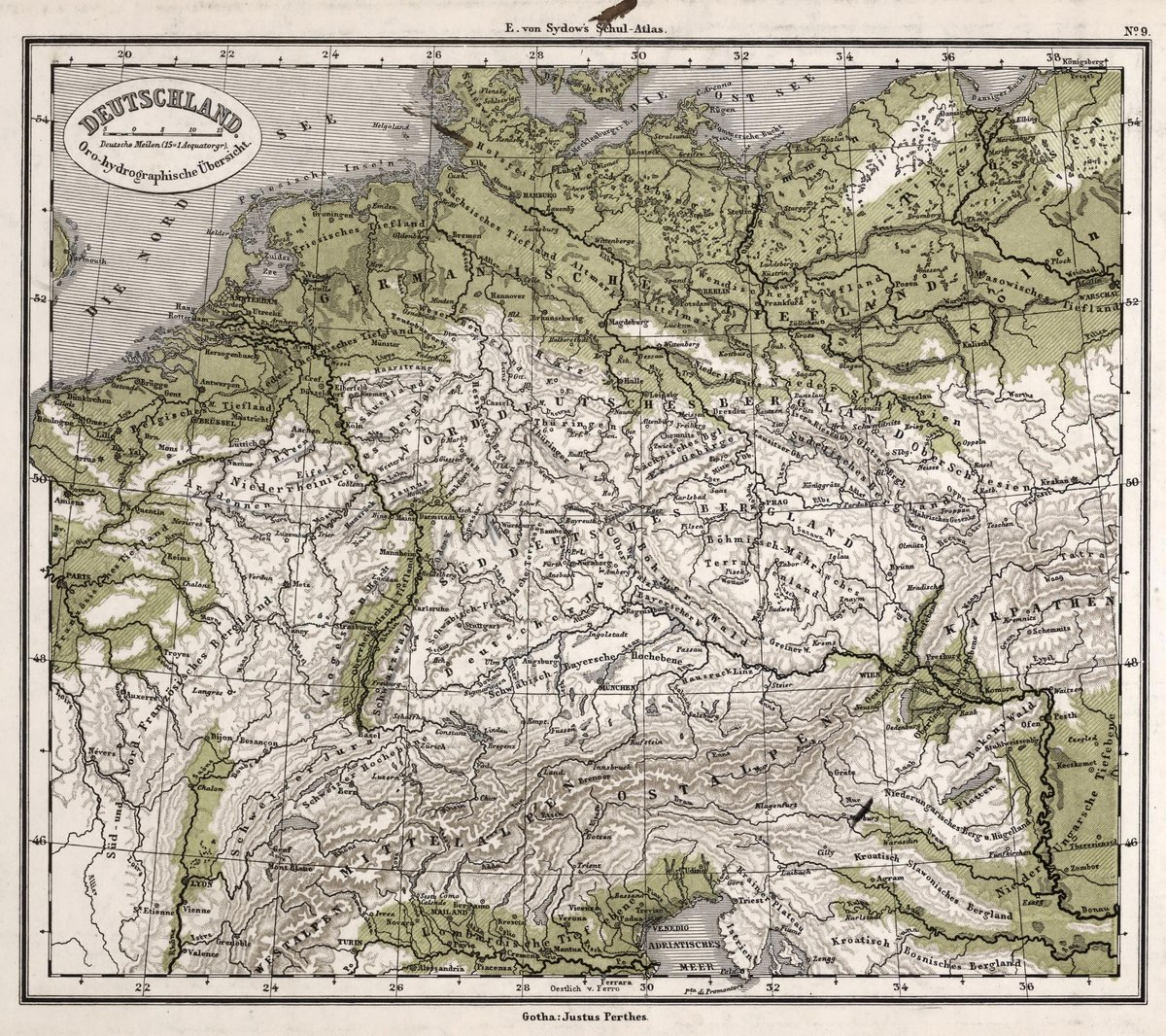1872 School Atlas | 9. Deutschland. (Germany.) | Antique Vintage Map Reprint
