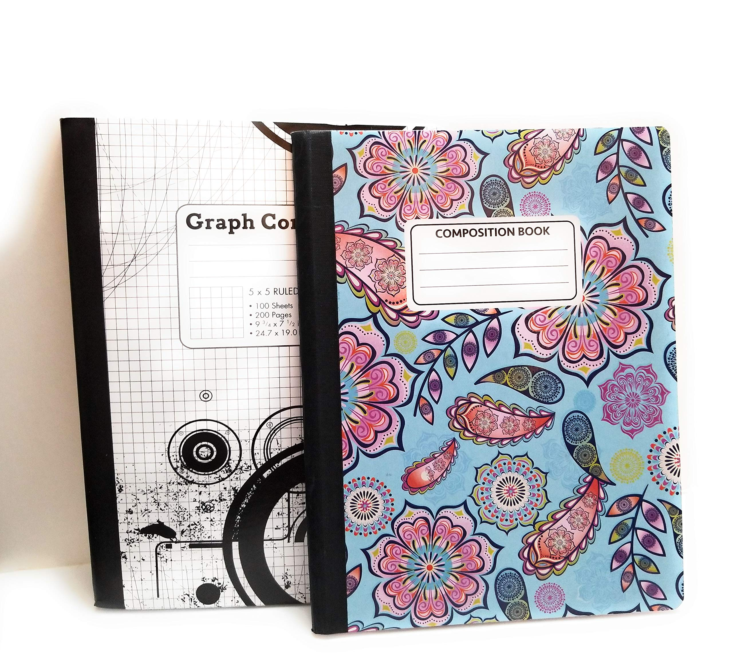 Mandala Pink Flower Composition Notebook/Black and White 5 x 5 Graph Notebook ~ Pack of 2
