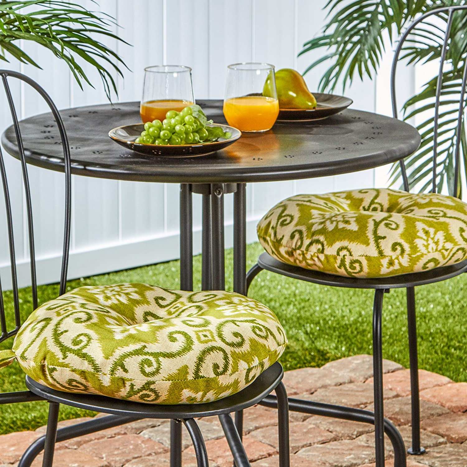 Superieur Amazon.com : Greendale Home Fashions Round Indoor/Outdoor Bistro Chair  Cushion, 15 Inch, Shoreham, Set Of 2 : Garden U0026 Outdoor
