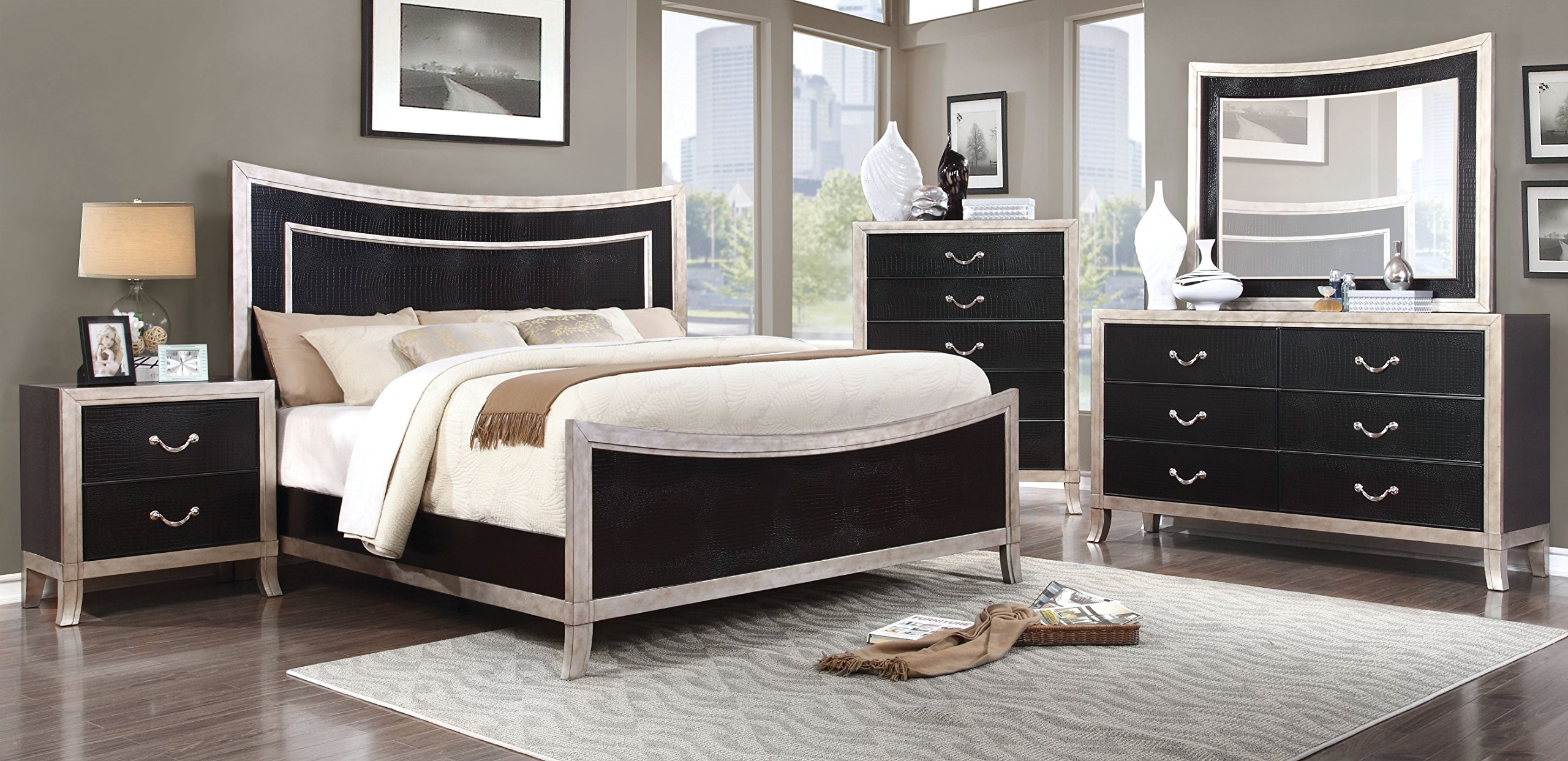 HOMES: Inside + Out ioHOMES Crocodile Textured Panel 5-Drawer Chest, Black/Silver by HOMES: Inside + Out (Image #3)