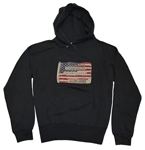 Polo Ralph Lauren Denim & Supply Men Hooded USA American Flag Hoodie Black  Large