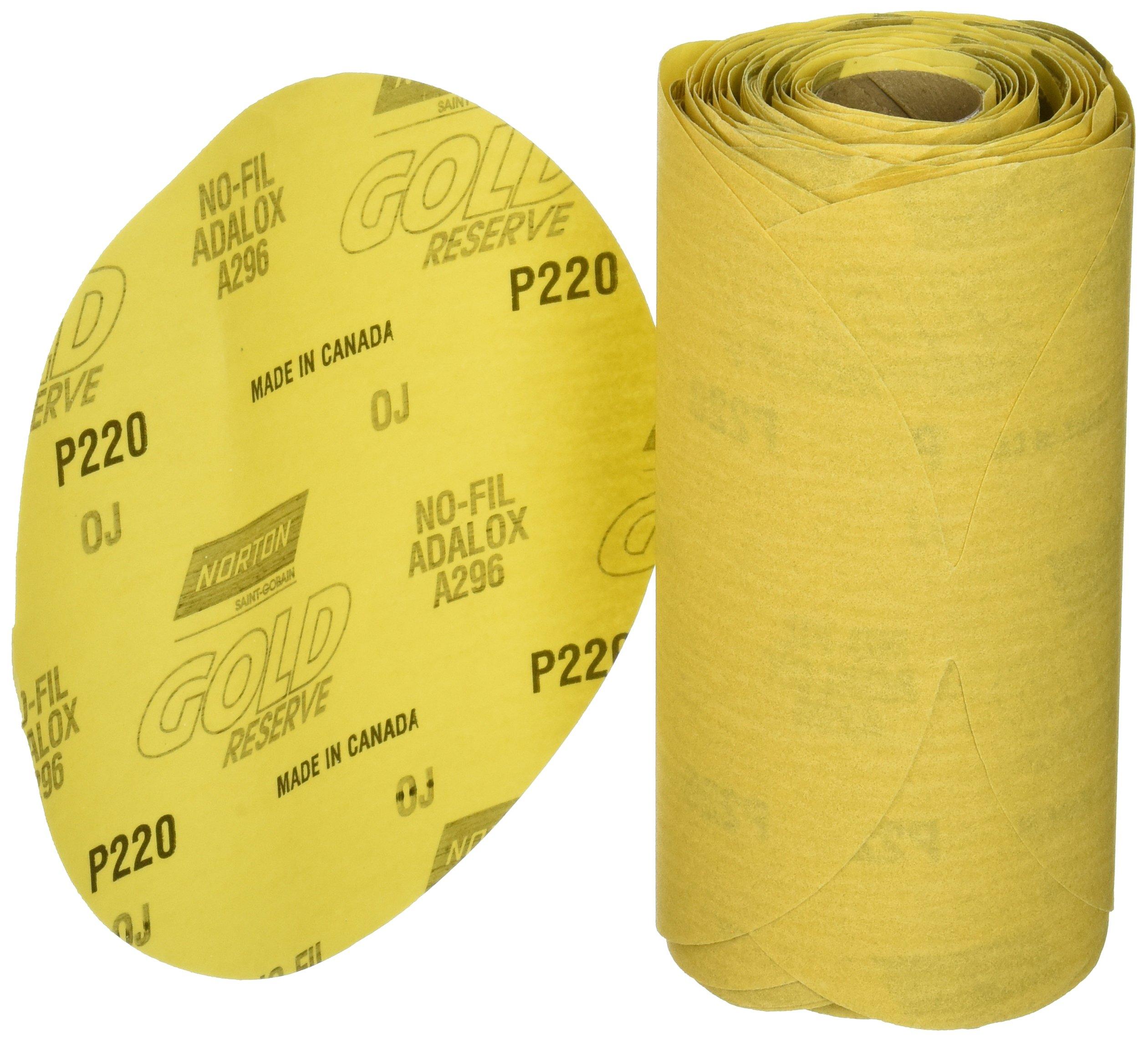 Norton 662611-83820 Gold Reserve 6'' P220B PSA Disc Roll, (100 Discs/Roll)