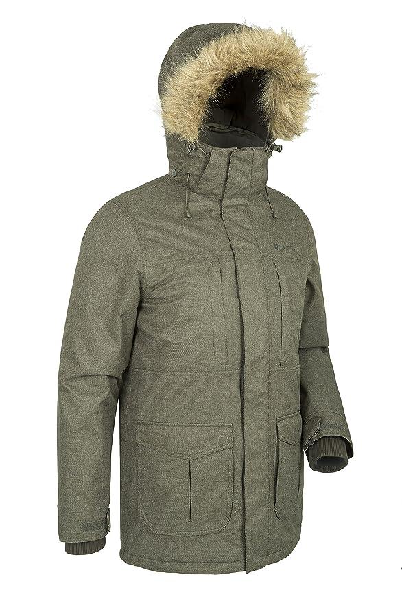 934128424dd85a Mountain Warehouse Gorge Herren-Langjacke - Winter-Regenjacke, wasserdicht,  atmungsaktiv, leicht, Kunstpelz-Kapuze, praktische, warme Jacke - für  kaltes ...