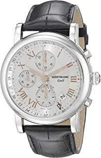 7eb3539d661 Montblanc Star Chronograph GMT Men's Black Leather Strap Swiss Automatic  Watch 36967