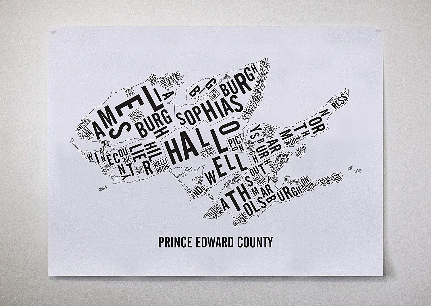 Prince Edward County Map Poster, Typography Map, Ontario Art, PEC, Ontario Print