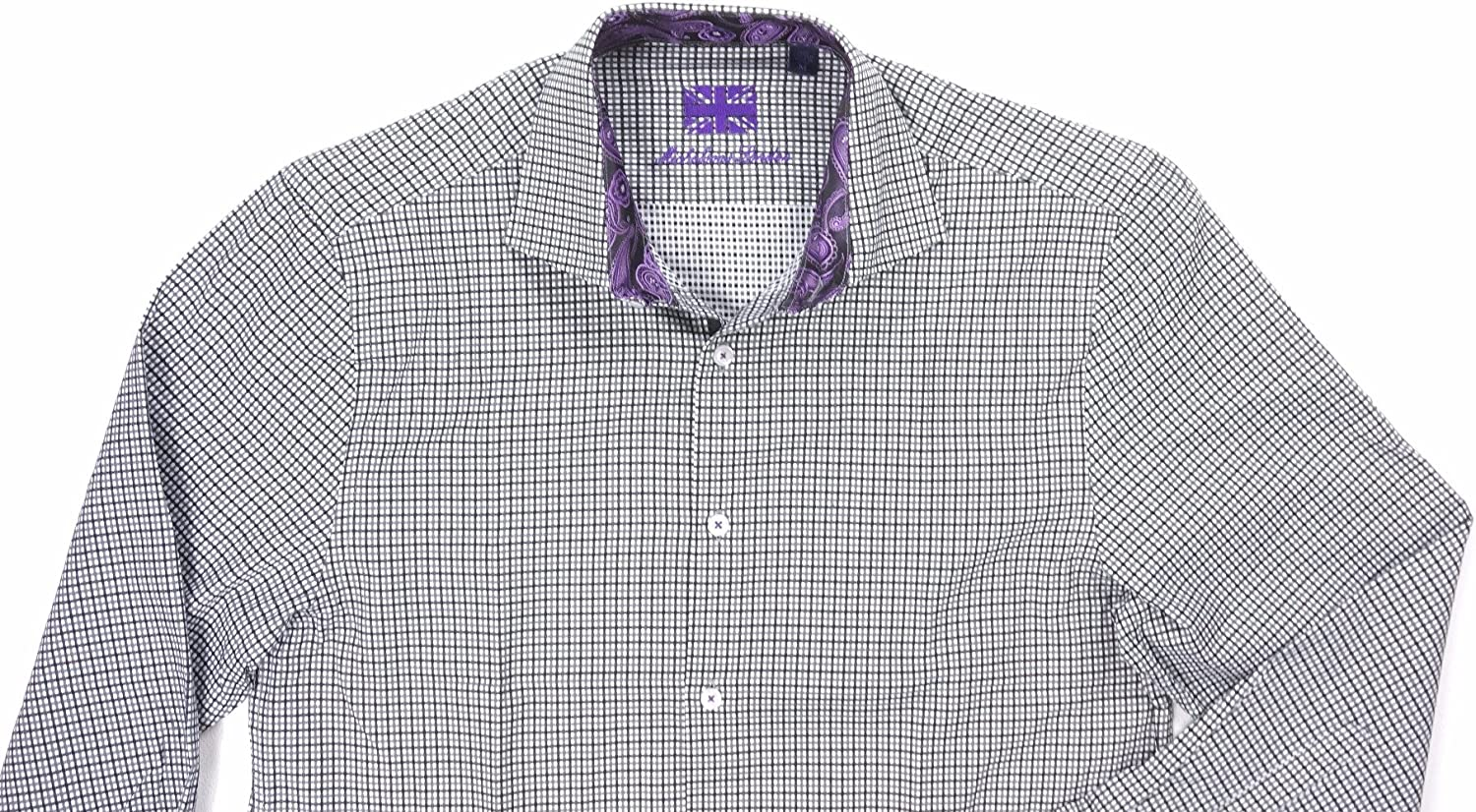 Michelsons London Mens Slim Fit Long Sleeves Button-Down Shirt Multi M