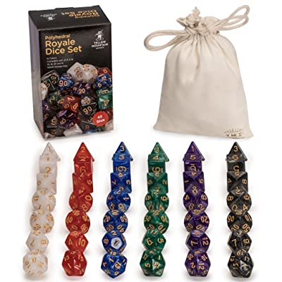 Yellow Mountain Imports 42 Polyhedral Dice, 6 Colors with Complete Set of D4, D6, D8, D10, D12, D20, and D% for Role Playing Games (RPG), DND, MTG, and Other Dice Games: Toys & Games