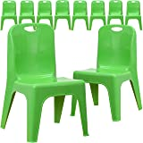 Flash Furniture 10 Pk. Green Plastic Stackable