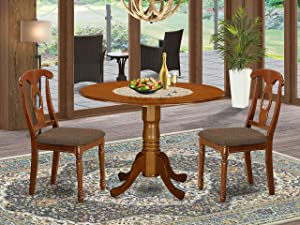 East West Furniture DLNA3-SBR-C - 3 Piece Dining Set - A Brilliant Dining Chairs Linen Fabric Seat and Saddle Brown Dinner Table