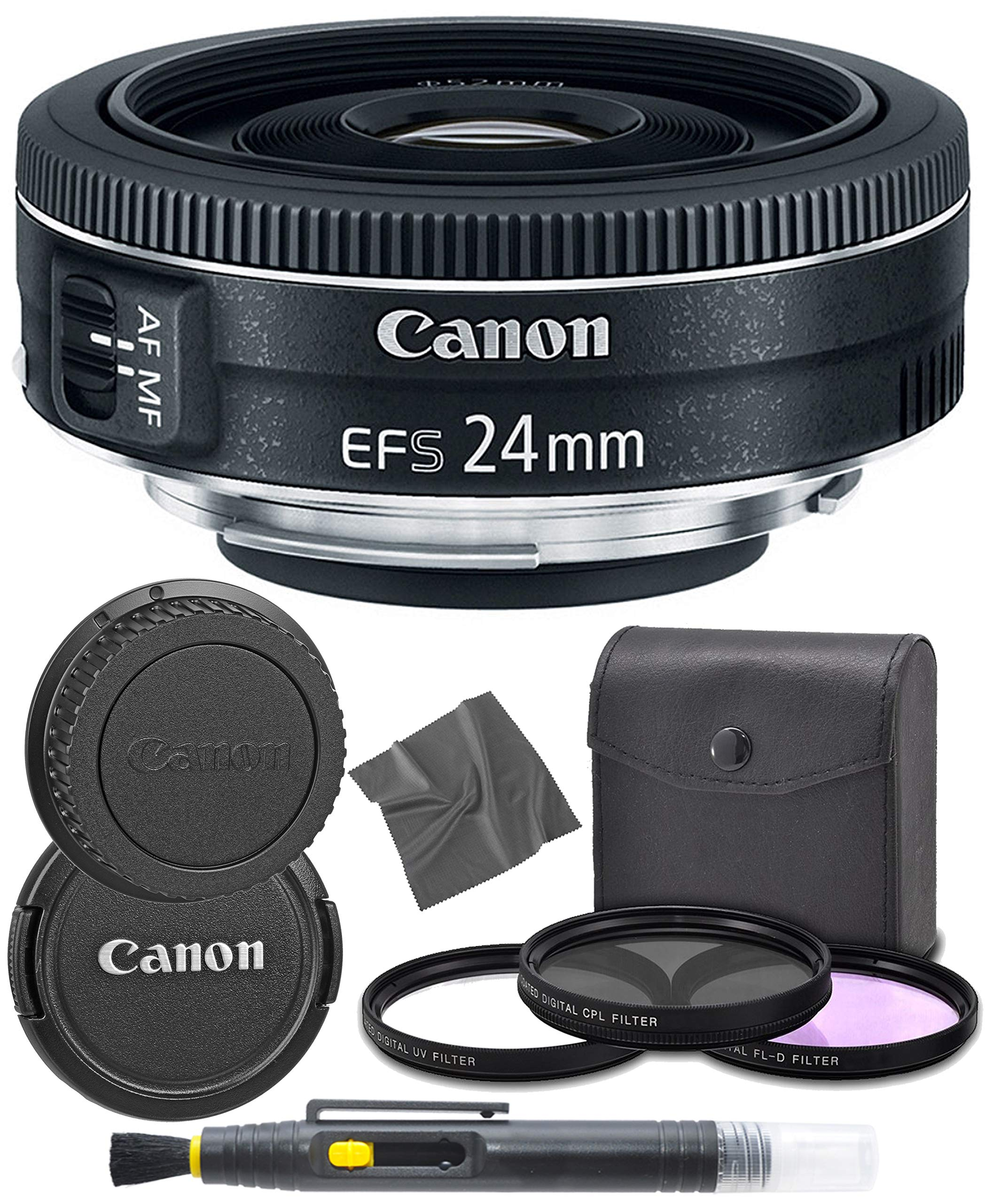 CanonEF-S 24mm f/2.8 STM: (9522B002) Lens + AOM Pro Starter Kit Bundle - International Version (1 Year AOM Warranty) by AOM