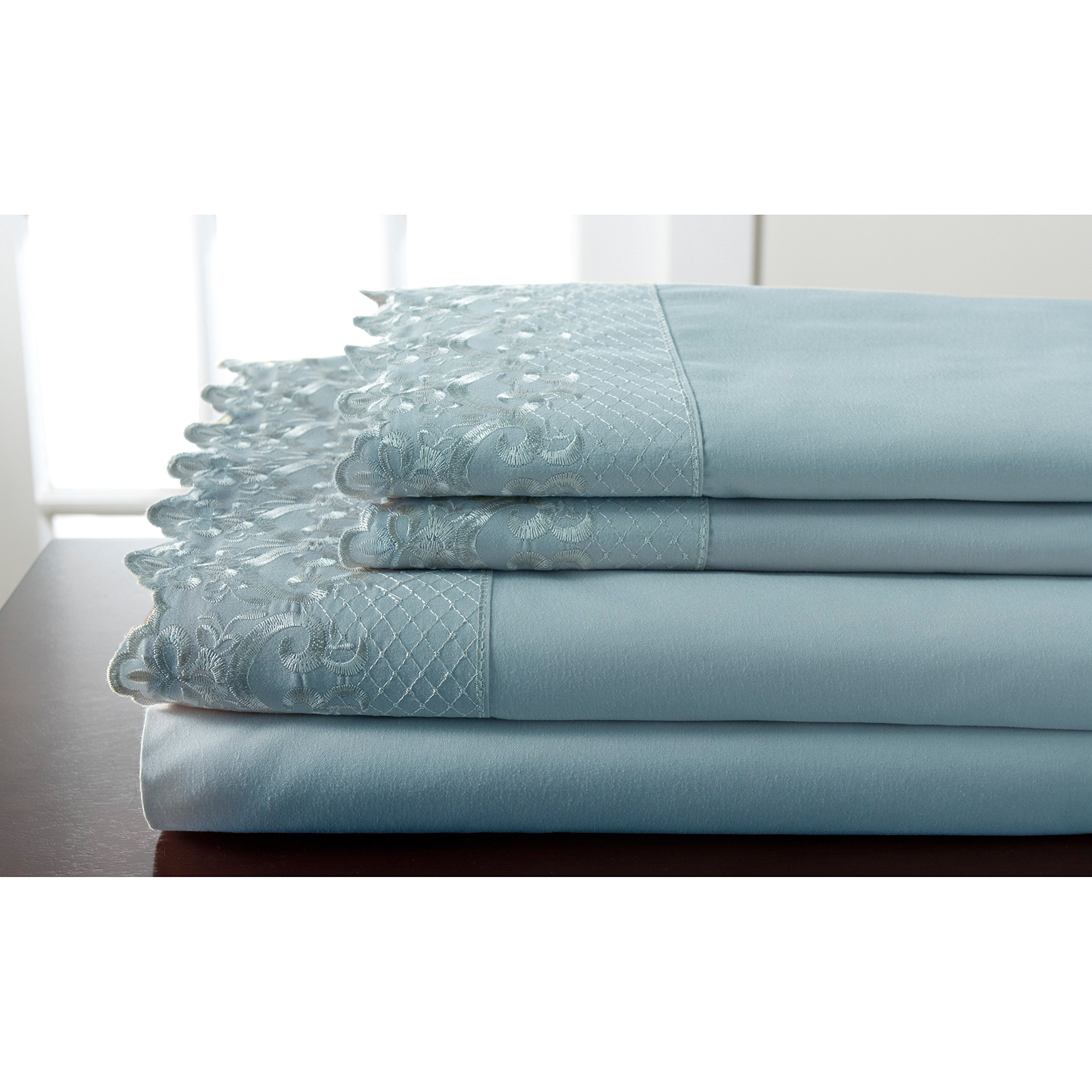 Elite Home Products, Inc. Hotel Lace Microfiber Sheet Set Spa 3 Piece Twin