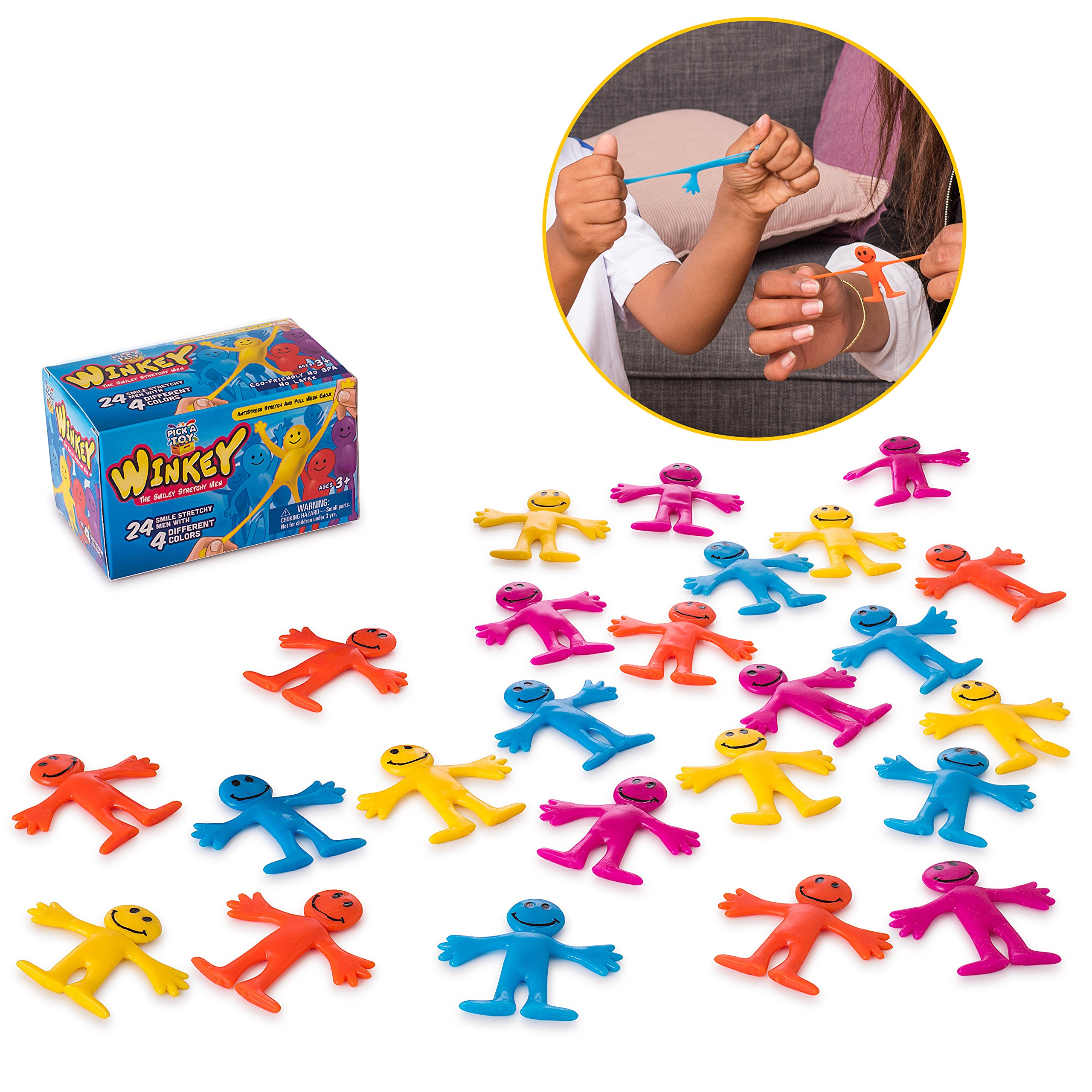Smiley Stretchy Man (24 set) Sensory Gel Toy Kids Stress Relief Fidget Party Favor For Autism & ADHD