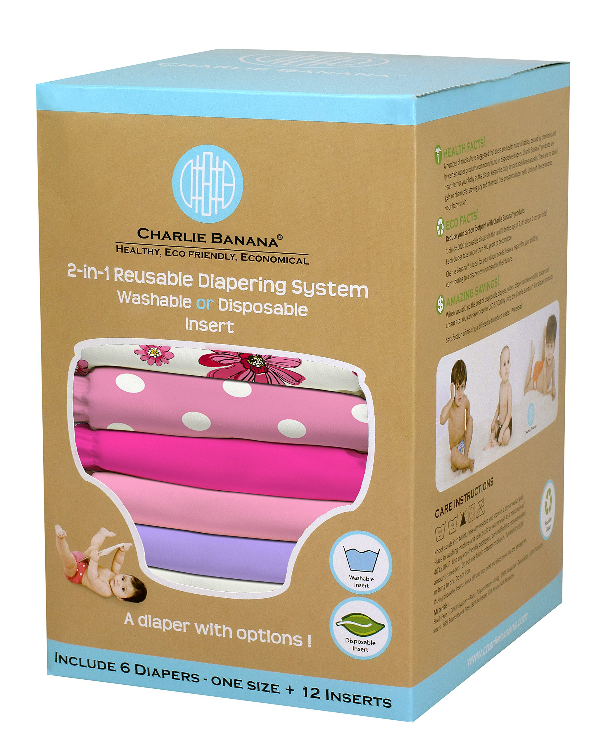 Charlie Banana 2-in-1 6-Piece Reusable Diapers, Girly