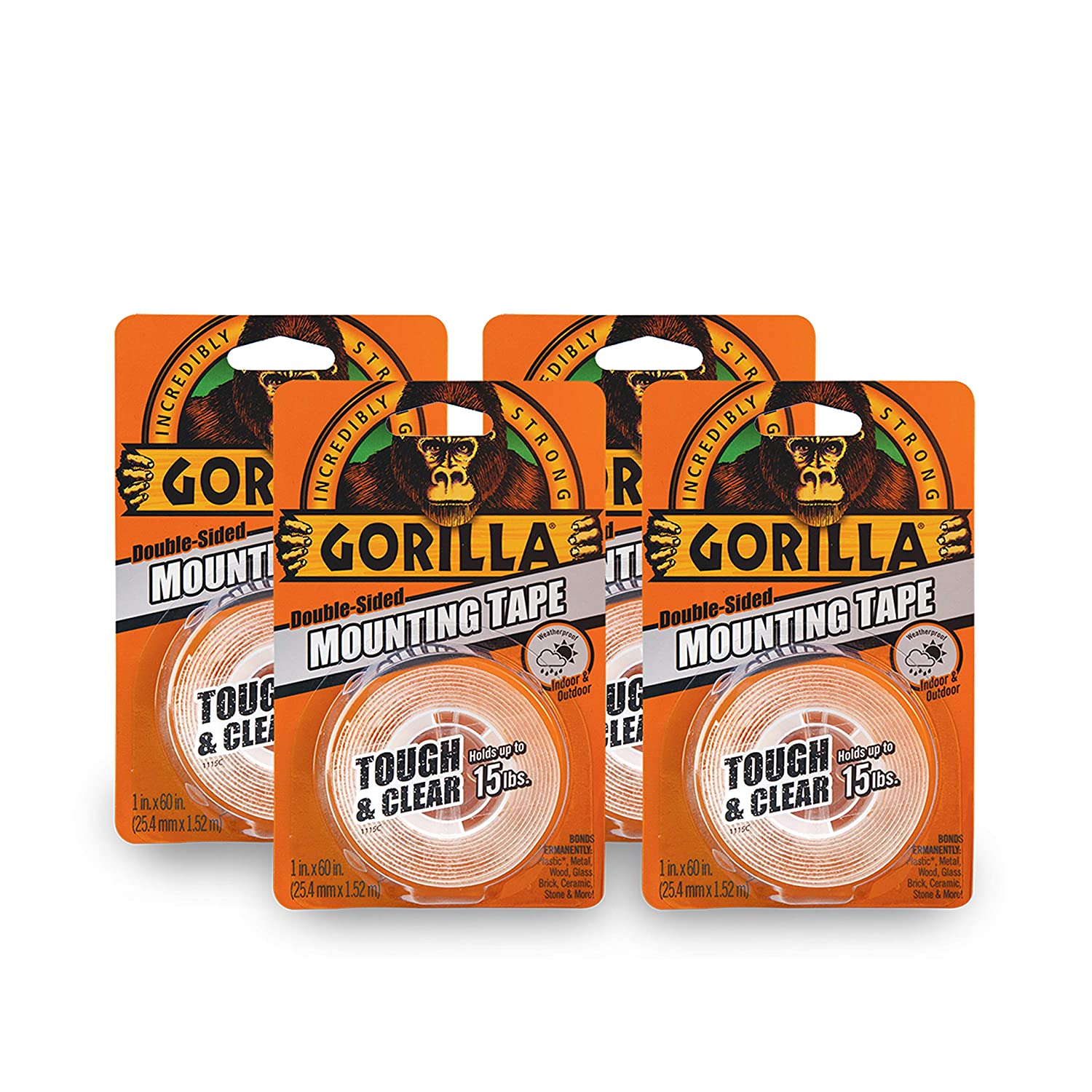 Gorilla 6065001-3 Tough & Clear Mounting Tape, Double-Sided, 1' x 60', Clear, (Pack of 3), 3 - Pack 3 Piece