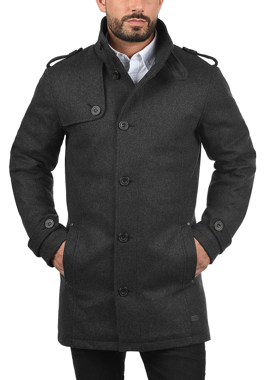 Blend Warren Manteau De Laine Veste Longue d'hiver Parka Homme Col Droit Charcoal (70818)