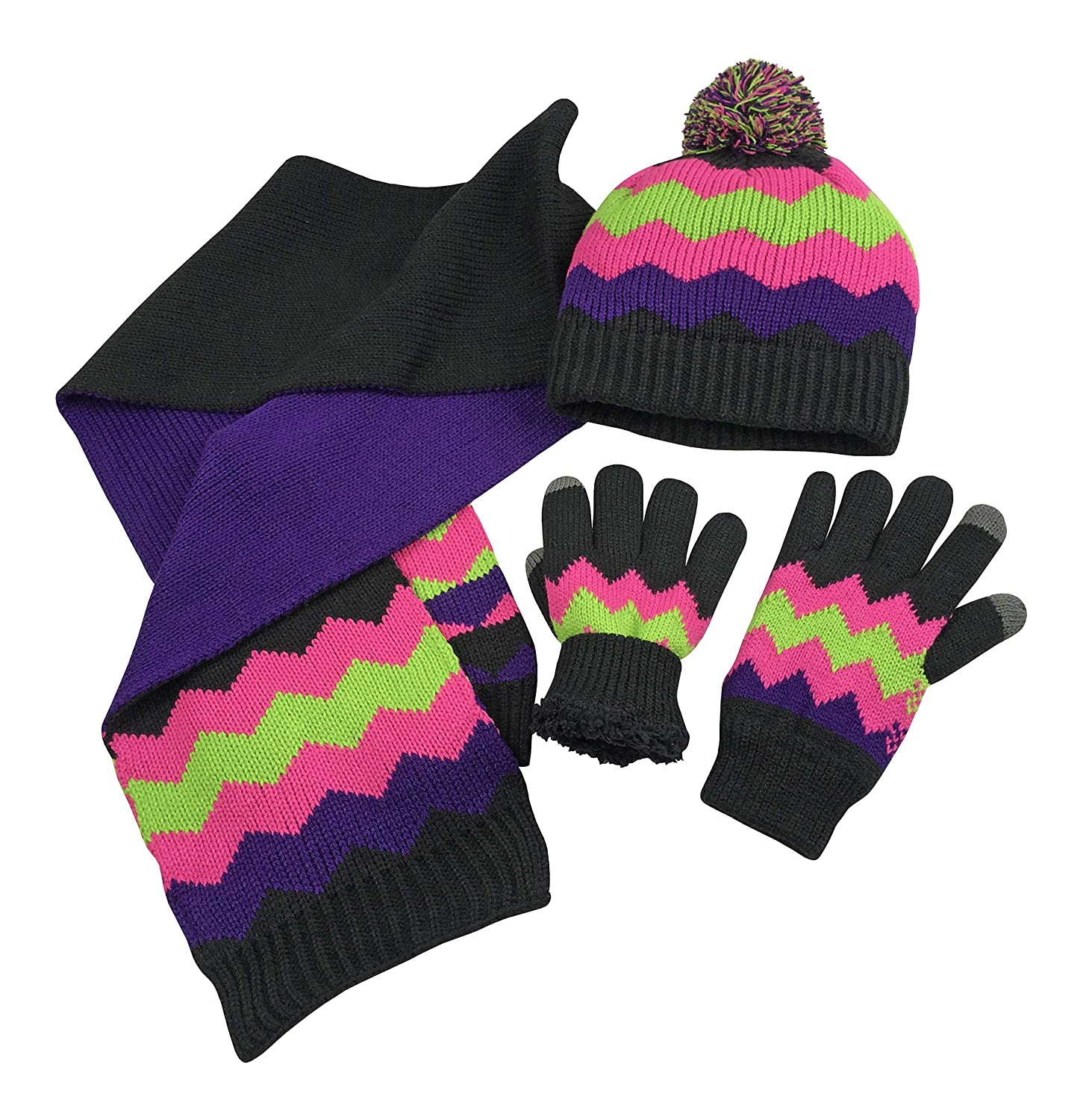 N Ice Caps Women s Bulky Cable Knit Hat Scarf Converter Glove Set  (Black Purple Multi with Touchscreen eb543309f56