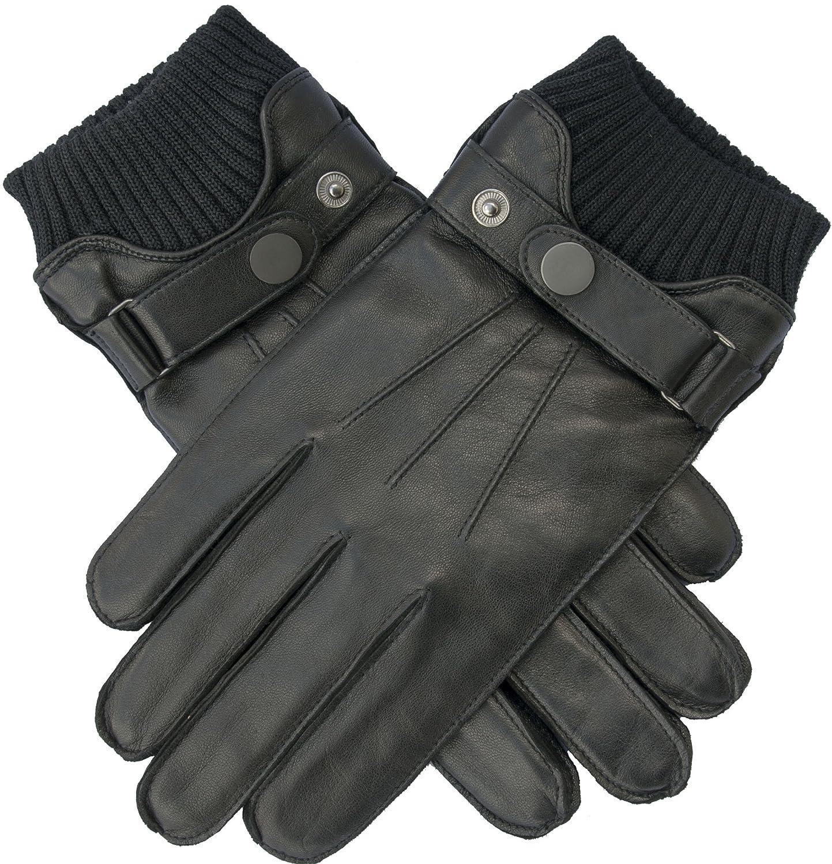 EEM Touchscreen Lederhandschuhe HARRISON für Herren mit Riegel und Wollstrickbund