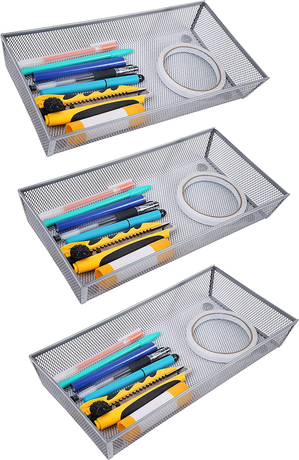 Finnhomy Mesh Drawer Organizer Shelf Storage Bins School Supply Holder Office Desktop Cabinet Sliver 6
