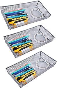 Finnhomy Mesh Drawer Organizer Shelf Storage Bins School Supply Holder Office Desktop Cabinet Sliver 6