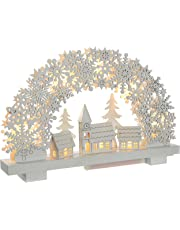 WeRChristmas Pre-Lit Snowflake Arch and Village Scene Christmas Tabletop Decoration, Wood, 32 cm - White
