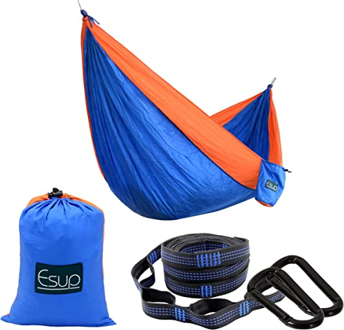 Esup Single Double Camping Hammock -Lightweight Nylon Portable Hammock, Best Parachute Hammock with Tree Straps for Backpacking, Camping, Travel