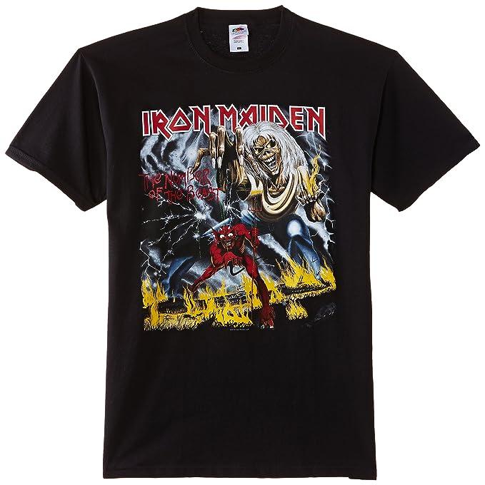 992dc17a2de4 Amazon.com: Large Black Iron Maiden Number Of The Beast Men's T ...