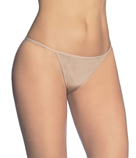 Beyond Woman Lingerie Womens Sexy Adjustable Thong (S, Beige)