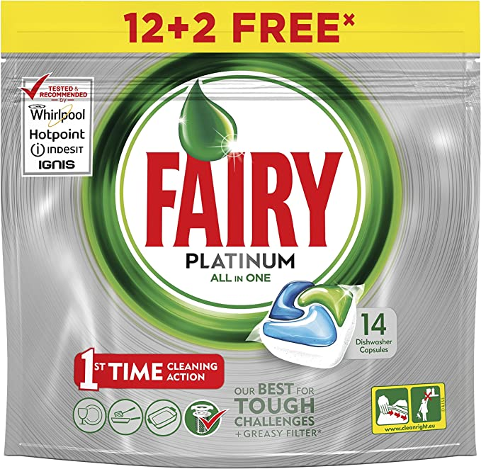 Fairy Platinum Cápsulas Todo en 1 para Lavavajillas - 13 cápsulas ...