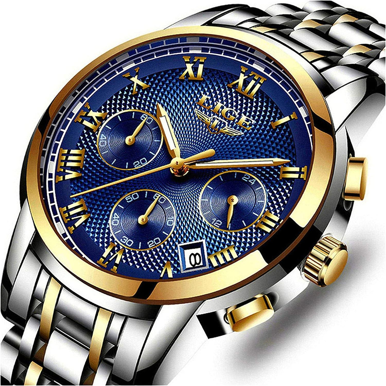Relojes de Hombre, Reloj de Cuarzo analógico de Negocios único para Hombres Cronógrafo de Acero Inoxidable Relojes
