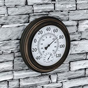 "Pure Garden Wall Thermometer-Decorative Indoor Outdoor Temperature and Hygrometer Humidity Gauge-5.5"" Display for Patio, Porch, Sunroom or Anywhere, Bronze"