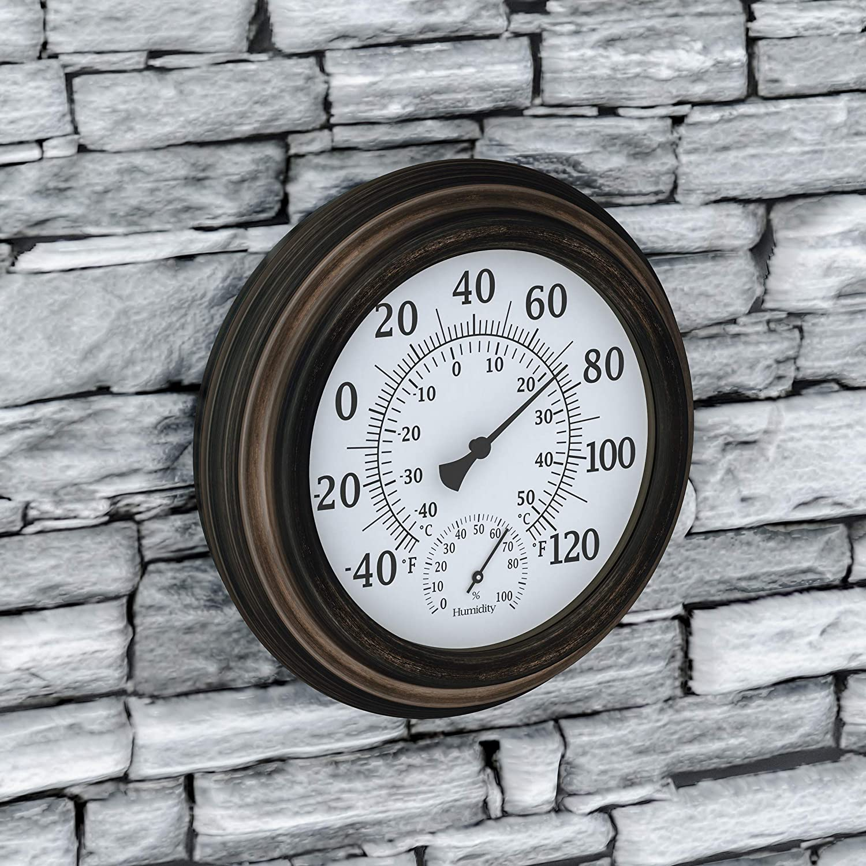 "Pure Garden Wall Thermometer-Decorative Indoor Outdoor Temperature and Hygrometer Humidity Gauge-5.5"", Bronze 50-LG1077"