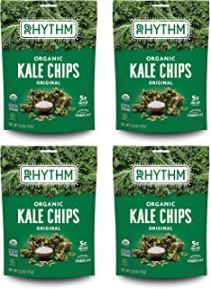 product image for Rhythm Superfoods Kale Chips, Original, Organic and Non-GMO, 2.0 Oz (Pack of 4), Vegan/Gluten-Free Superfood Snacks
