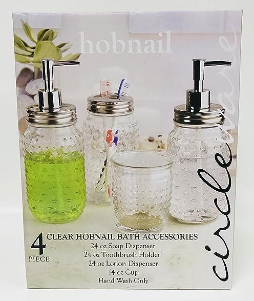 Amazon.com: 4 Piece Clear Hobnail Bath Accessories   1 24oz Soap ...