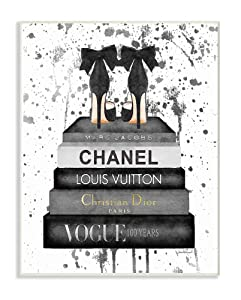 Stupell Industries Glam Fashion Book Stack Grey Bow Pump Heels Ink Oversized Wall Plaque Art, Proudly Made in USA