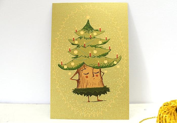 Wie Zeichne Ich Einen Tannenbaum.Weihnachtskarte Weihnachtsbaum Postkarte Christmas Tree Christmas
