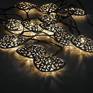 12 Moroccan Heart Solar String Lanterns LED Fairy Lights Garden Outdoor  Party Wedding Celebration Beautiful Night