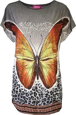 Love Lola - Camisas - Animal Print - para mujer Azul naranja Talla única: Amazon.es: Ropa y accesorios