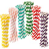 150pk Paper Straws Biodegradable by ocean saver   Free Ebook   Recyclable Straws in 6 Assorted Colours for Everyday, Parties, Birthdays and Weddings