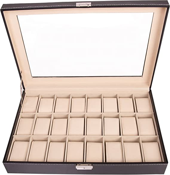 TRESKO® Caja para 24 de Relojes organizador de relojes caja relojero estuche relojero para almacenar relojes, de piel sintética, negro: Amazon.es: Relojes