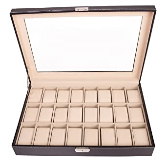TRESKO® Caja para 24 de Relojes organizador de relojes caja relojero estuche relojero para almacenar relojes, de piel sintética, negro