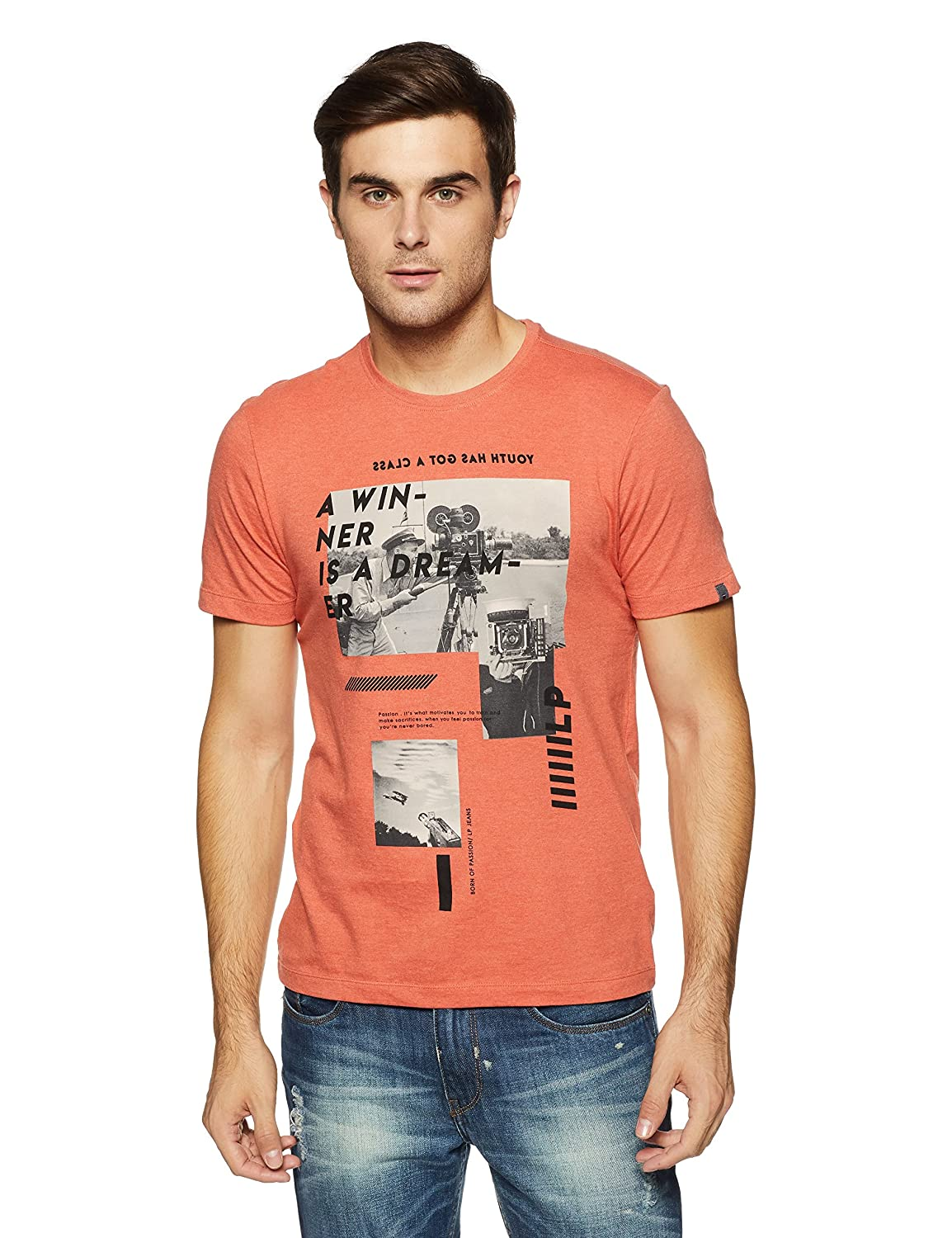 8e11737f6c LP Jeans By Louis Philippe Men s Solid Slim Fit T-Shirt  Amazon.in   Clothing   Accessories