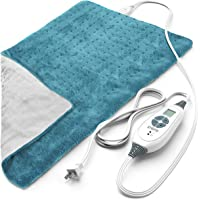 "PURE ENRICHMENT PureRelief XL King Size Heating Pad (Turquoise Blue) - Fast-Heating Machine-Washable Pad - 6 Temperature Settings, Moist Heat Therapy Option, Auto Shut-Off and Storage Bag - 12"" x 24"""