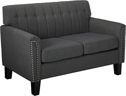 Jasmine Traditional Dark Grey Fabric Loveseat