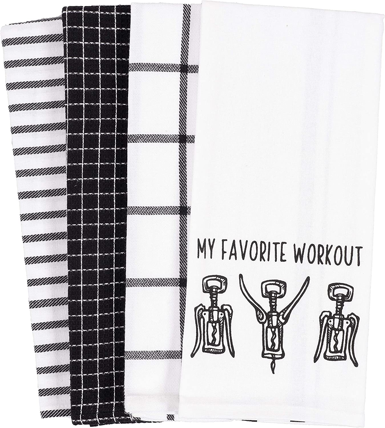KAF Home Pantry My Favorite Wine Workout Kitchen Dish Towel Set of 4, 18 x 28-Inch