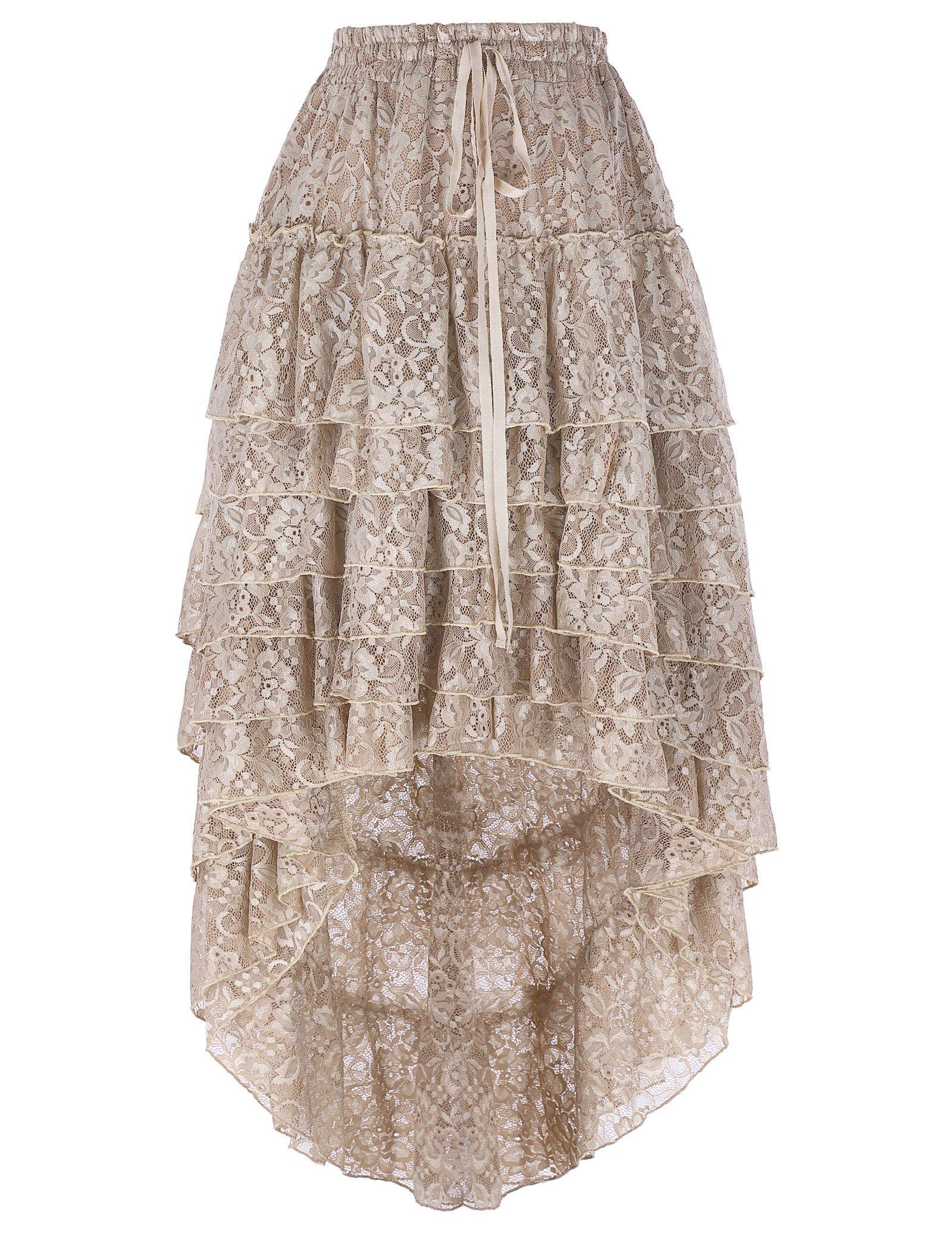 Belle Poque Women Victorian Gothic Skirt High Low Steampunk Accessories BP221-1 S