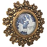 Parisian Home Picture Frame Gold Antique Round Textured Flowers 3 by 3