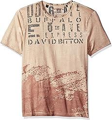Buffalo David Bitton Mens Tinow Short Sleeve Crewneck Washed Fashion Graphic T-Shirt
