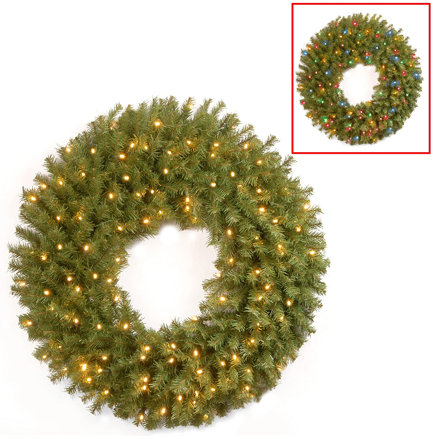 NF-304D-24WB-1 National Tree 24 Inch Norwood Fir Wreath with 50 Battery Operated Dual LED Lights