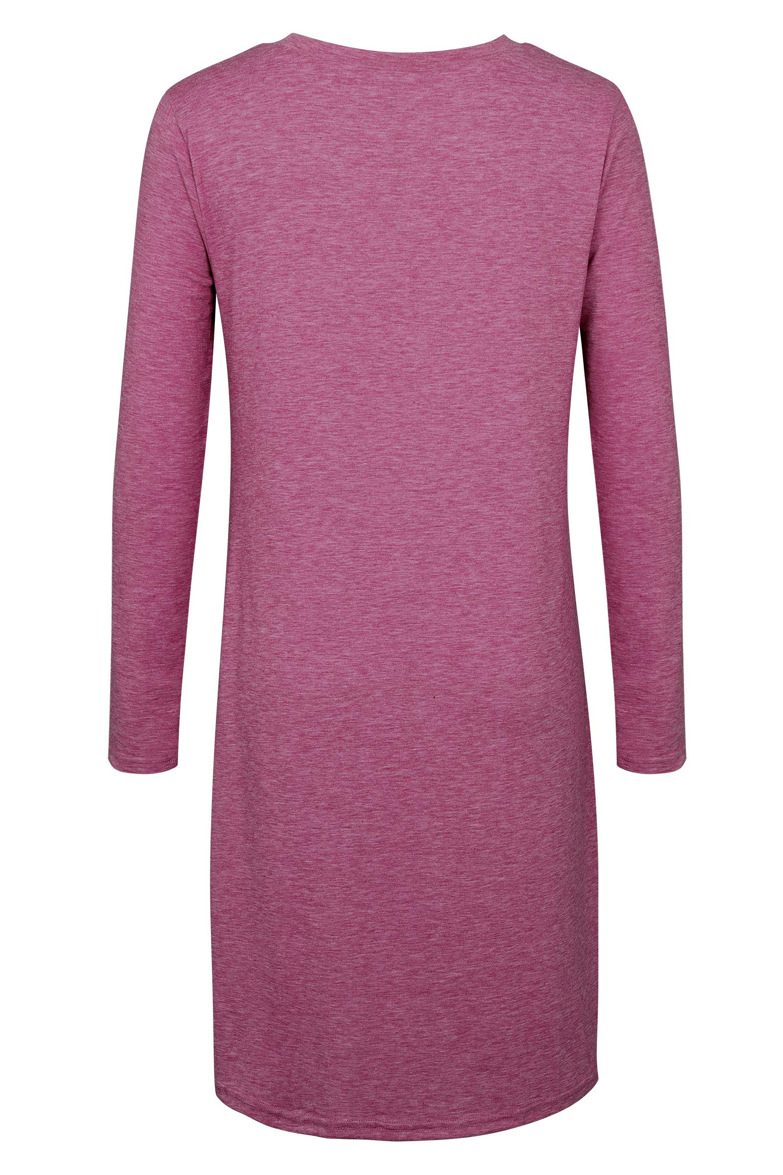 Women\'s Long Sleeve Casual Loose Knitted Twist Knot Tunics Shirt Dress Top Wine