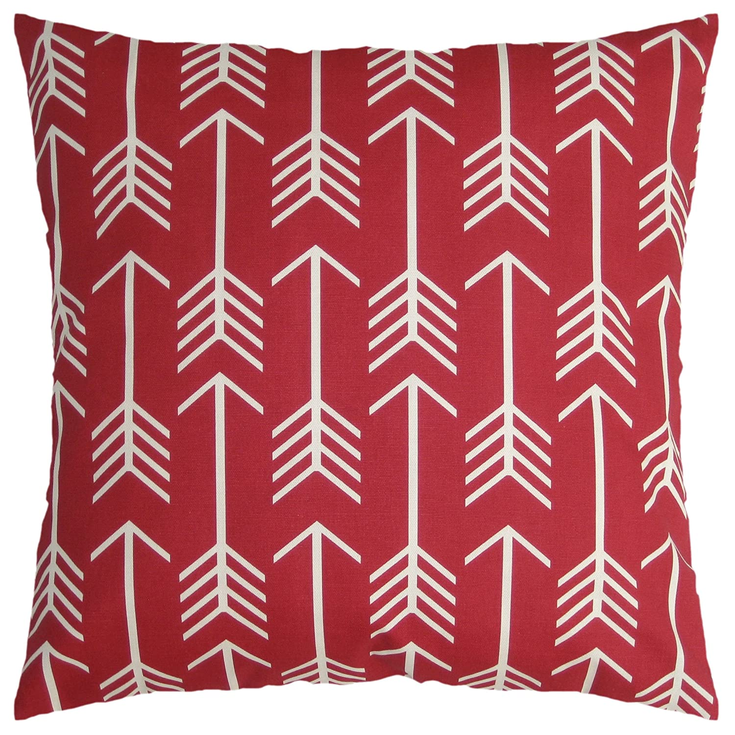 JinStyles Arrow Cotton Canvas Decorative Throw Pillow Cover (Christmas Red and White, 18 x 18 inches)